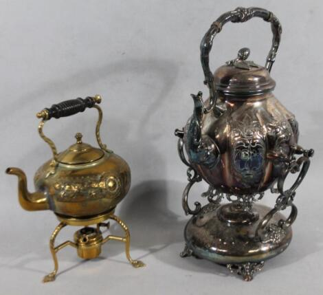 An early 20thC silver plated spirit kettle