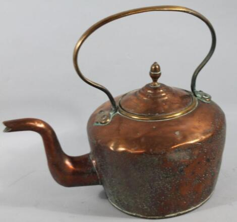 An oversized early 20thC copper kettle