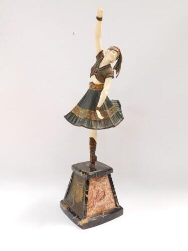 Demétre H Chiparus (1886-1947). Art Deco bronze and ivory sculpture of an exotic dancing figure