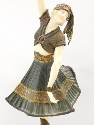 Demétre H Chiparus (1886-1947). Art Deco bronze and ivory sculpture of an exotic dancing figure - 2