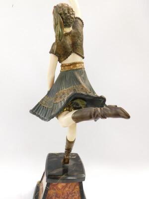 Demétre H Chiparus (1886-1947). Art Deco bronze and ivory sculpture of an exotic dancing figure - 5