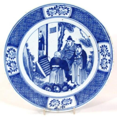A 19thC Chinese Qing period blue and white charger