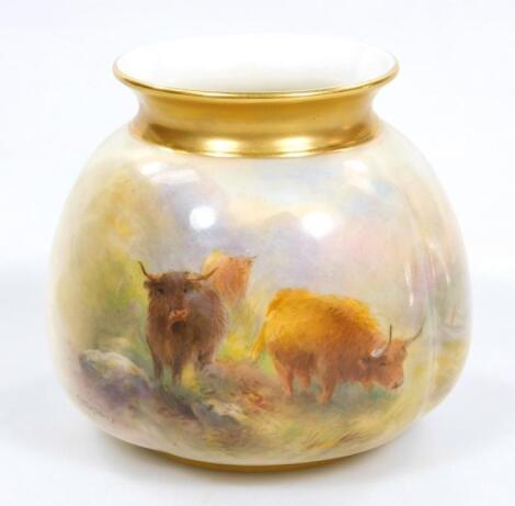 A Royal Worcester Stinton squat vase