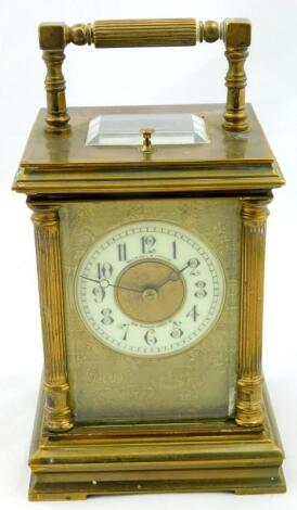 A 19thC gilt brass cased carriage clock