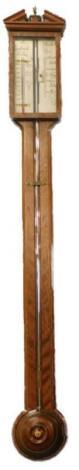 A mahogany ebony and boxwood strung stick barometer