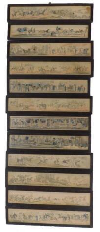 An associated set of twelve 19thC coloured engravings