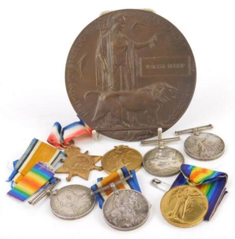 An interesting collection of First World War medals etc.