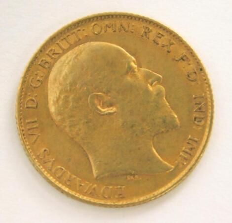 An Edward VII half gold sovereign