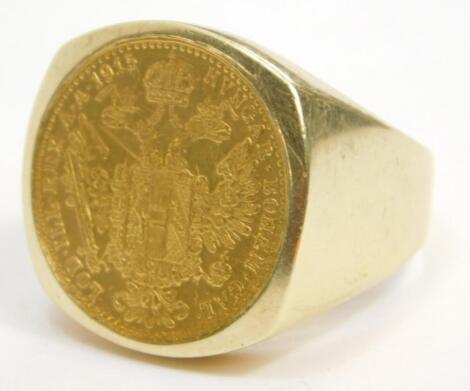 A Hungarian coin set dress ring