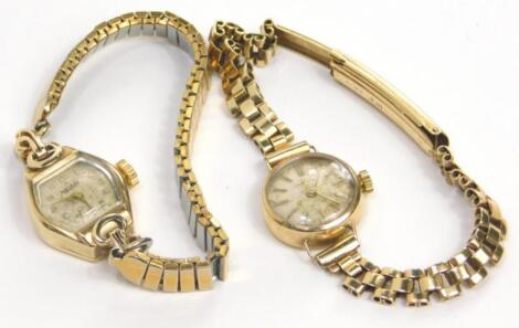 Two 9ct gold ladies wristwatches