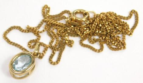 A 9ct gold pendant and chain