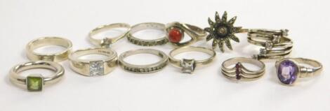 Various silver dress rings
