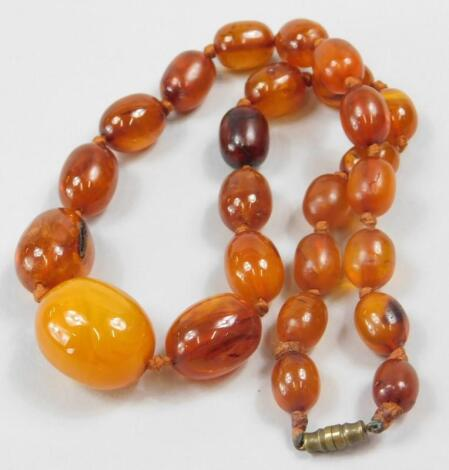 A graduated amber necklace