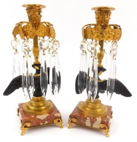 A pair of 19thC Continental gilt metal and bronzed table lustre's