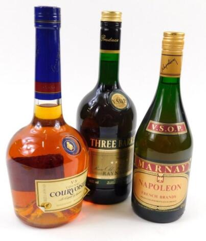 Three bottles of spirits