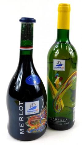 Two bottles of commemorative wine