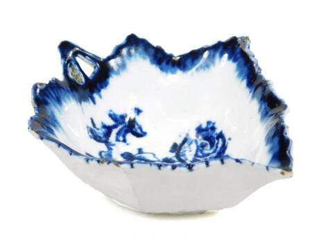 A Derby blue and white pickle leaf dish