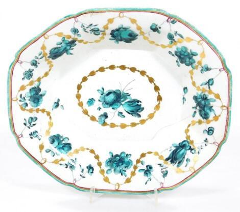 A Derby porcelain octagonal dish