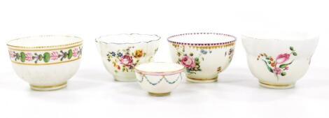 Four Chelsea Derby tea bowl and a rare Chelsea Derby miniature tea bowl