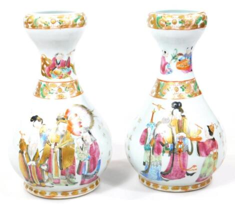 A pair of 19thC Chinese Qing period bottle vases