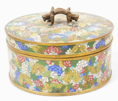 A late 19thC Chinese Qing period cloisonne box and cover
