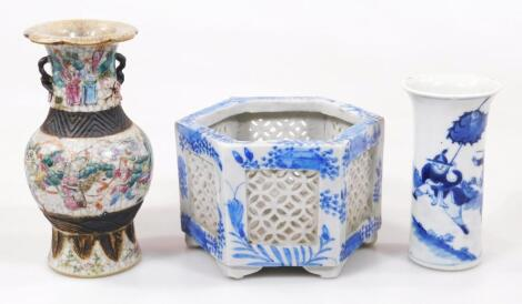 An early 19thC Chinese Qing period blue and white vase