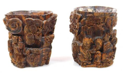 Two early 19thC carved Chinese wooden cups