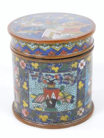 A 19thC Chinese cloisonne jar and cover