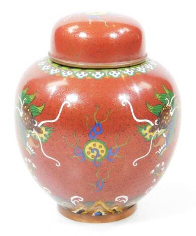 An early 20thC Chinese cloisonne jar and cover
