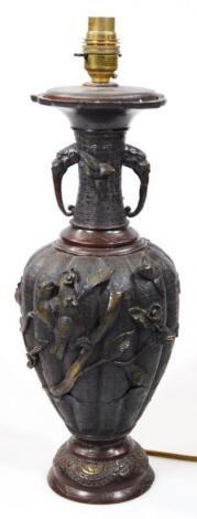 A Japanese Meiji period bronze vase