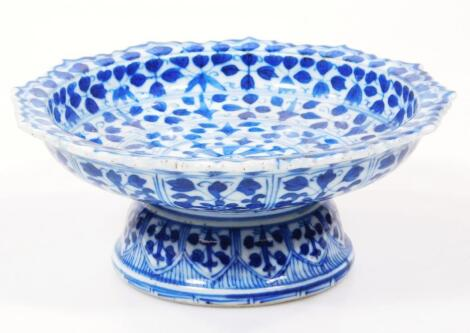 A 18thC Chinese blue and white stem dish