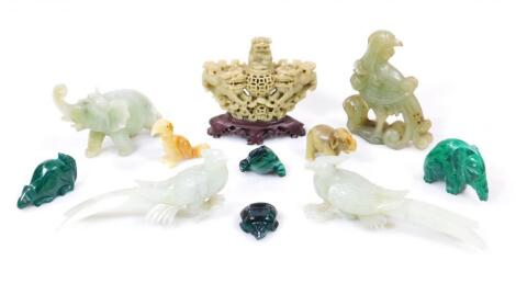Various jadiete soapstones and other ornaments