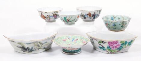 Various 19thC Chinese tea bowls