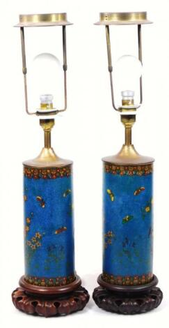 A pair of 19thC Chinese cloisonne vase