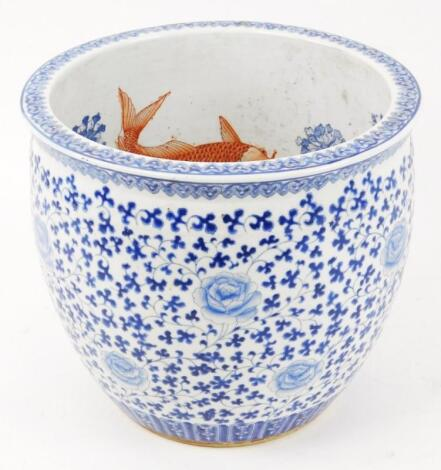 A Chinese porcelain fish bowl