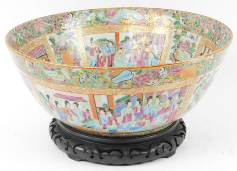 A 19thC Cantonese famiile rose punch bowl