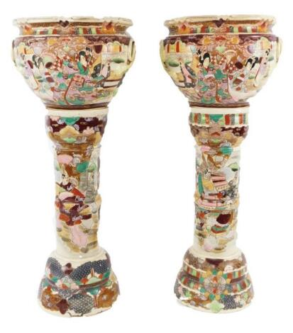 A pair of Kyoto style pottery Satsuma jardinieres