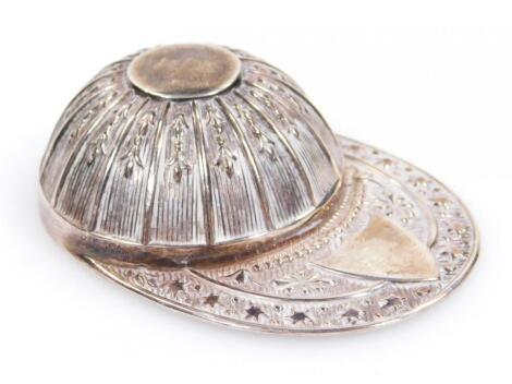 An Elizabeth II silver jockey's cap caddy spoon