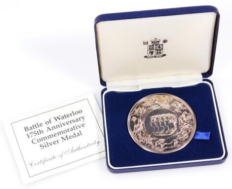 An Elizabeth II Royal Mint Battle of Waterloo 175th Anniversary Commemorative silver medal