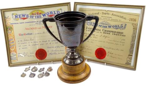 Early darts and darting trophies awards etc.