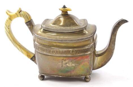 A George III rectangular silver teapot