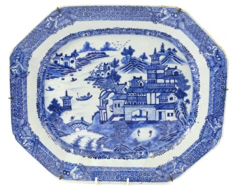 An 18thC Chinese blue and white export porcelain meat plate