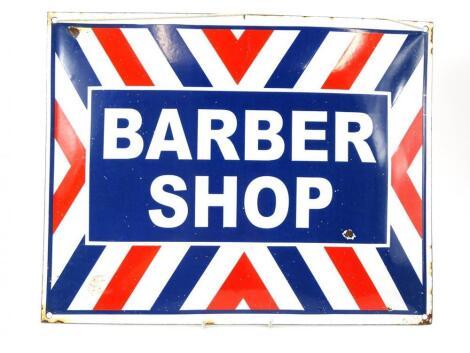 A 20thC enamel Barber shop sign