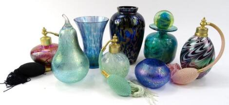 Various iridescent and other glass ware
