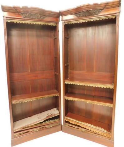 A pair of mahogany bookcases