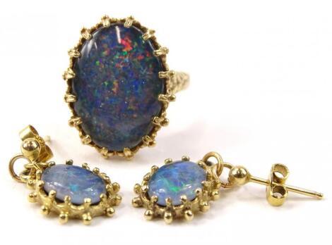 Two items of fire opal jewellery