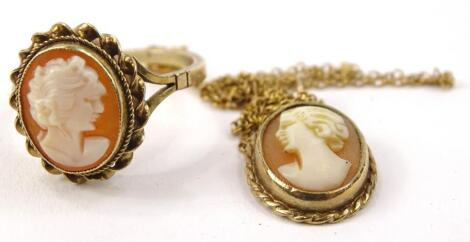 Two items of cameo jewellery