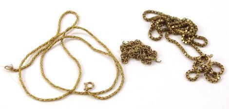 Three 9ct gold chains