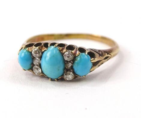 A turquoise and diamond set dress ring