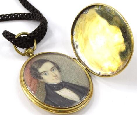 A 19thC miniature portrait locket